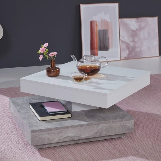 Brunch Rotating Coffee Table Square In White And Cement Grey_2