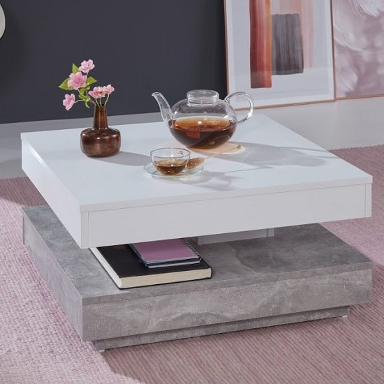 Brunch Rotating Coffee Table Square In White And Cement Grey_3