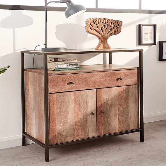 Brunel Sideboard In Mango Wood Effect With 2 Door And 1 Drawer