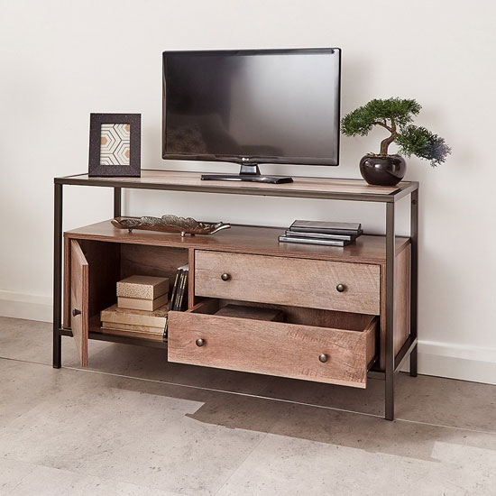 Brunel Wooden TV Stand In Mango Wood With 1 Door 2 Drawers_2