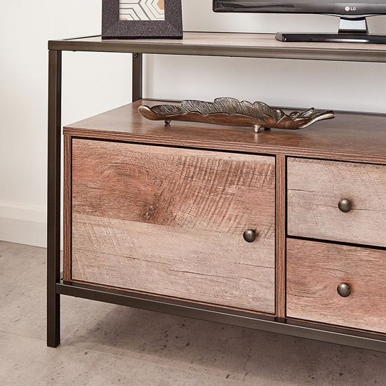 Brunel Wooden TV Stand In Mango Wood With 1 Door 2 Drawers_3