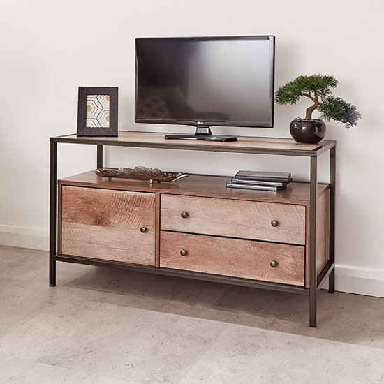 Brunel Wooden TV Stand In Mango Wood With 1 Door 2 Drawers_1