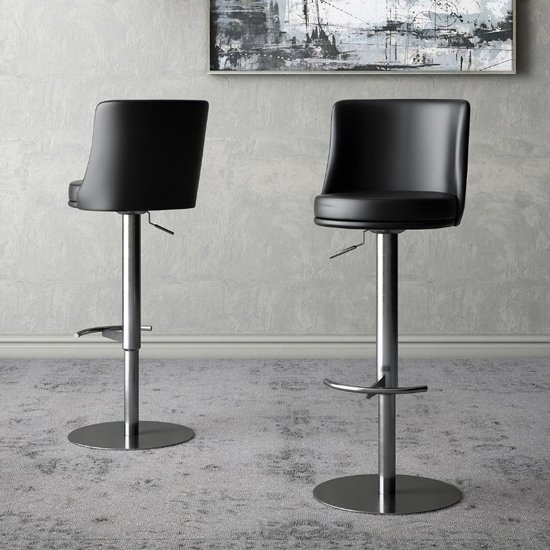 Bruno Black Faux Leather Gas-lift Bar Stools In Pair