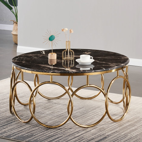 Bruno Black Marble Coffee Table With Gold Stainless Steel Legs