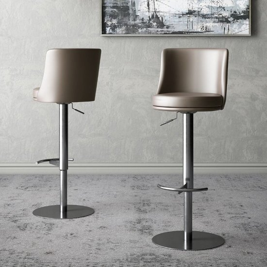 Bruno Taupe Faux Leather Gas-lift Bar Stools In Pair