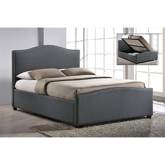 Brunswick Fabric Storage Ottoman Double Bed In Grey_1