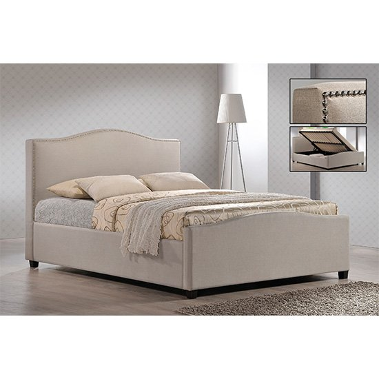 Brunswick Fabric Storage Ottoman Double Bed In Sand