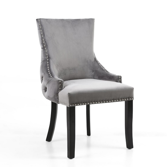 Brusel Accent Chair In Brushed Velvet Grey With Black Legs
