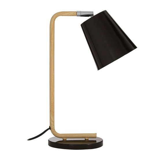 Bruyo Black Metal Table Lamp With Natural Wooden Stalk