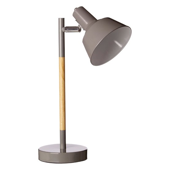 Brymon Grey Metal Table Lamp With Natural Wooden Stalk