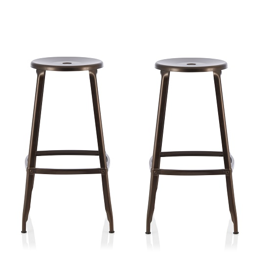 Bryson 66cm Metal Bar Stools In Antique Bronze In A Pair