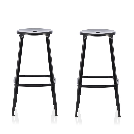 Bryson 66cm Metal Bar Stools In Black In A Pair