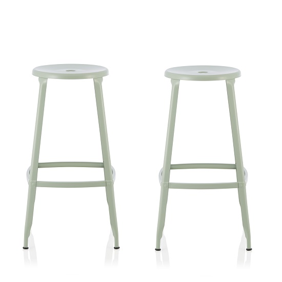 Bryson 76cm Metal Bar Stools In Green In A Pair