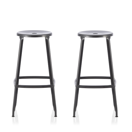 Bryson 76cm Metal Bar Stools In GunMetal In A Pair