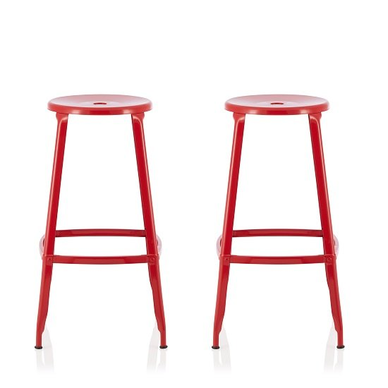 Bryson 66cm Metal Bar Stools In Red In A Pair