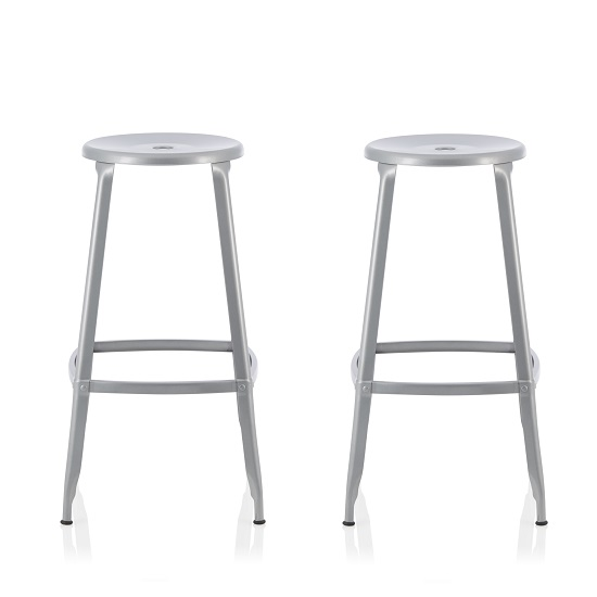Bryson 66cm Metal Bar Stools In Silver In A Pair