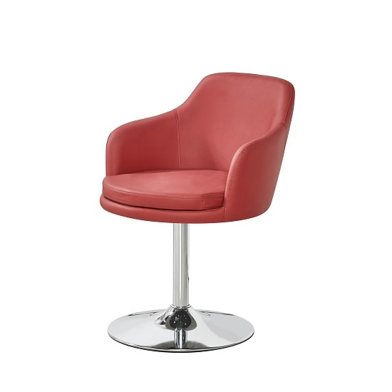 Bucketeer Bistro Chair In Bordeaux PU With Chrome Base