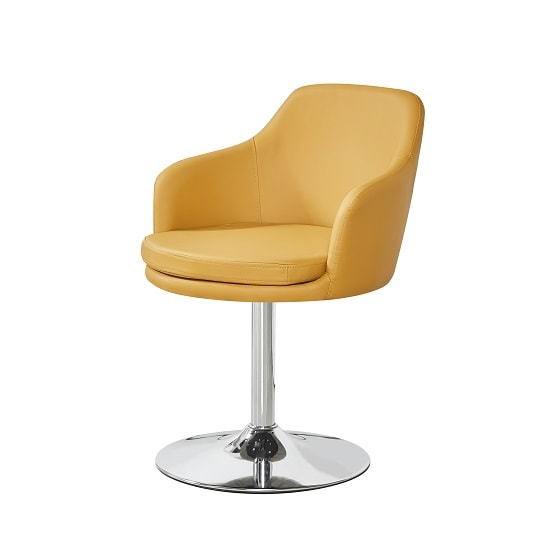 Bucketeer Bistro Chair In Curry Faux Leather With Chrome Base