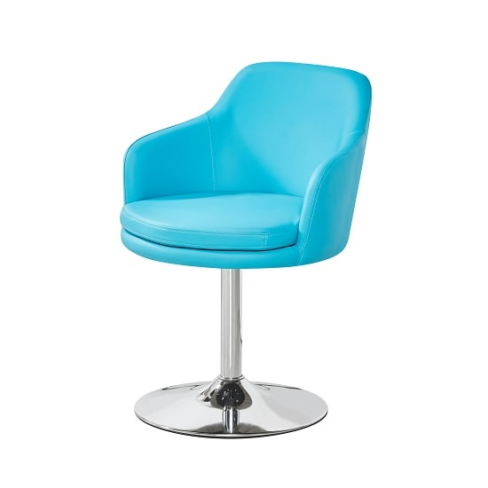 Bucketeer Bistro Chair In Turquoise PU With Chrome Base