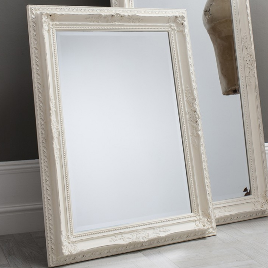 Buckingham Vintage Wall Mirror In White 169 95 Go Furniture Co Uk