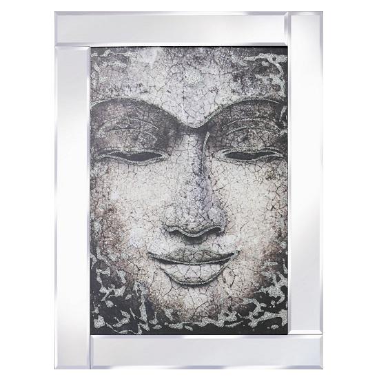 Buddha Face Modern Glass Wall Art On Mirror Frame