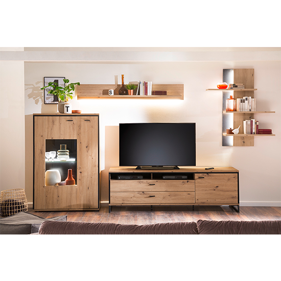 Buenos Aires LED Living Room Set In Planked Oak With Wall Shelf