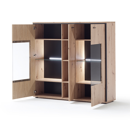 Buenos Aires LED Wooden Highboard In Planked Oak With 3 Doors_2