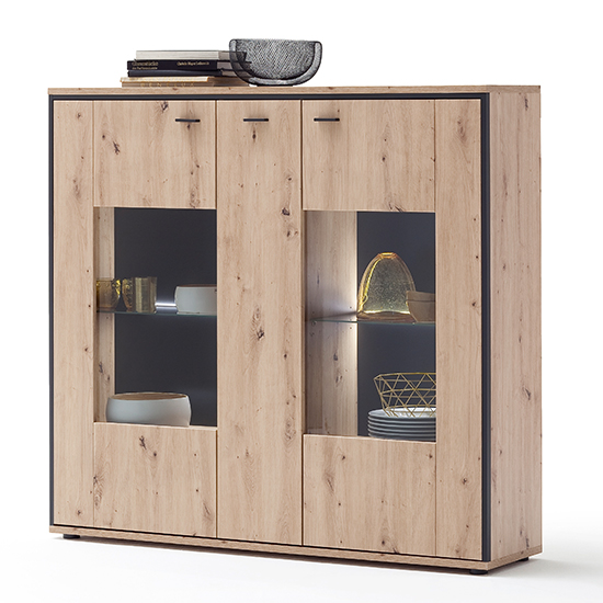 Buenos Aires LED Wooden Highboard In Planked Oak With 3 Doors