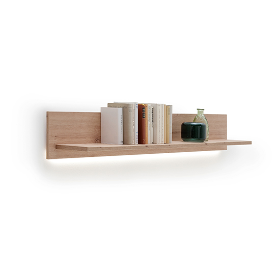 Buenos Aires LED Wooden Wall Shelf In Planked Oak_2