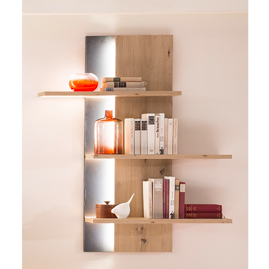 Buenos Aires LED Wooden Wall Shelving Unit In Planked Oak