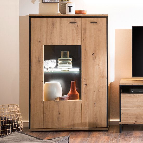 Buenos Aires Small LED Highboard In Planked Oak With 3 Doors