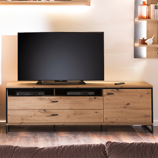 Buenos Aires TV Stand In Planked Oak With 1 Door And 2 Drawers