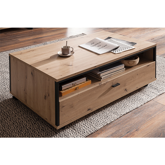 Buenos Aires Wooden Coffee Table In Planked Oak With 1 Drawer