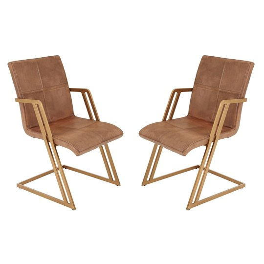 Australis Brown Leather Chair With Angular Iron Frame In Pair