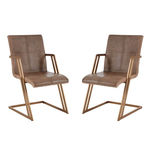 Australis Grey Leather Chair With Angular Iron Frame In Pair