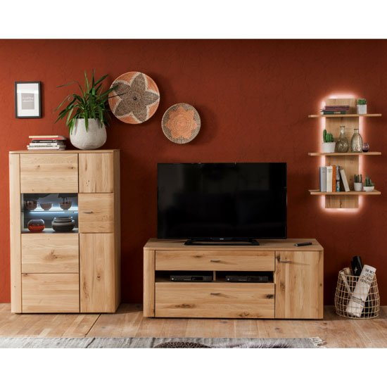 View Buffalo led living room set in planked oak with 1 door tv unit