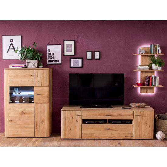 View Buffalo led living room set in planked oak with 2 doors tv unit