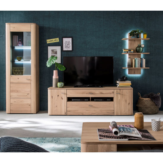 Buffalo LED Living Room Set In Planked Oak With Display Cabinet