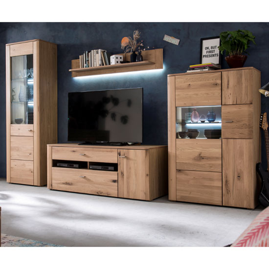Buffalo LED Living Room Set In Planked Oak With Highboard_2