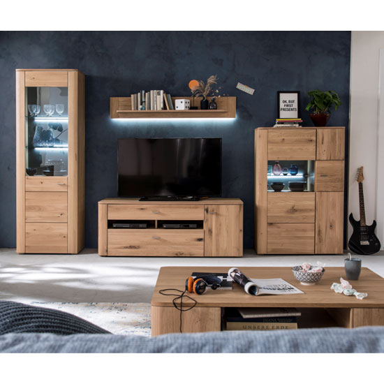 Buffalo LED Living Room Set In Planked Oak With Highboard_1