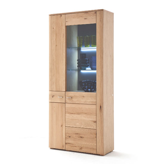 Buffalo LED Wooden Display Cabinet In Planked Oak With 2 Doors