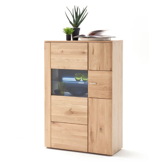 Buffalo LED Wooden Right Highboard In Planked Oak With 2 Doors