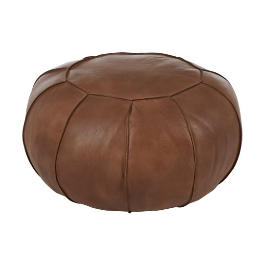 Australis Pouffe In Brown Tactile Leather      _2