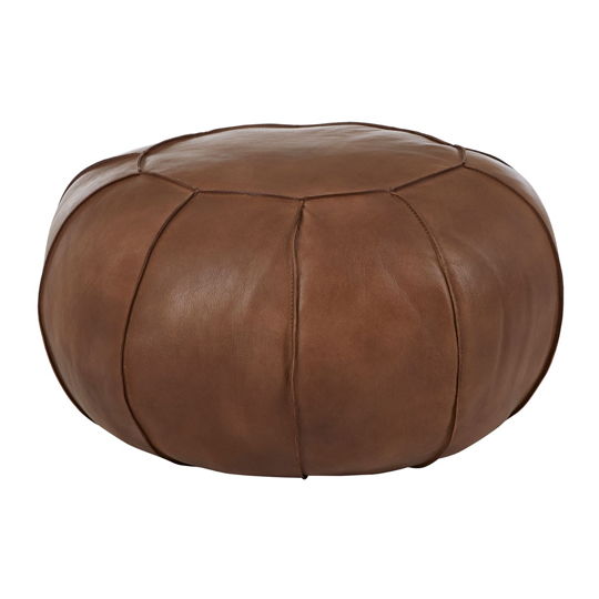 Australis Pouffe In Brown Tactile Leather      _1
