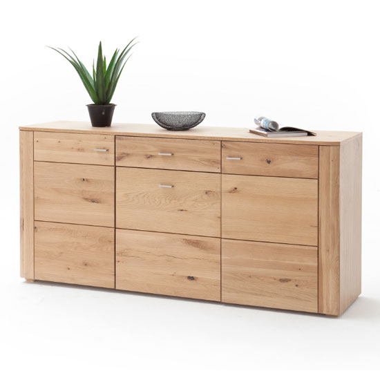 Buffalo Wooden 3 Doors Sideboard In Planked Oak With 1 Drawer