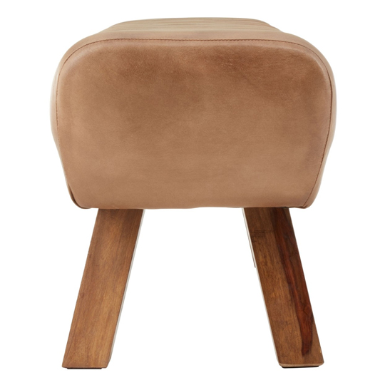 Australis Wooden Gym Stool With Brown Leather     _3