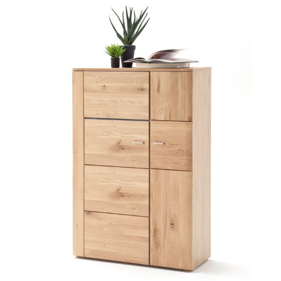 Buffalo Wooden Highboard In Planked Oak With 2 Doors_1