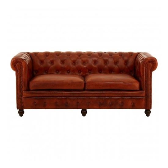 Buffaloes 3 Seater Leather Sofa In Tan