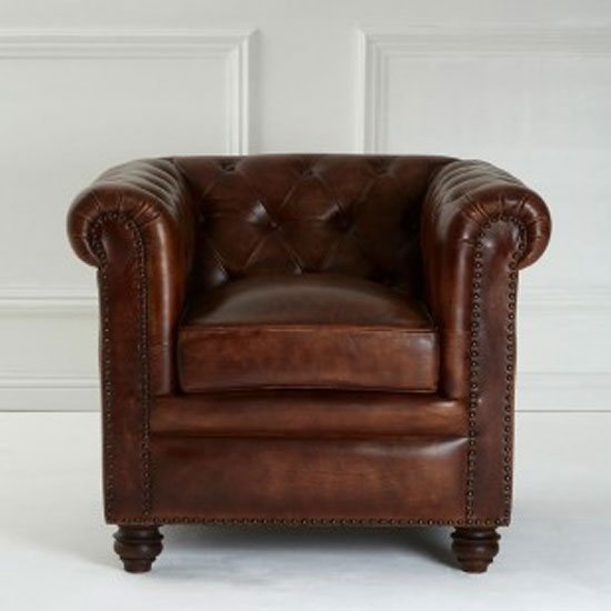 Buffaloes Leather Armchair In Dark Brown