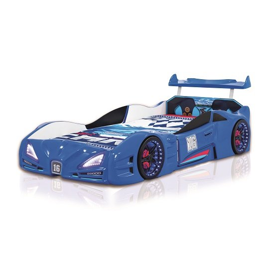 Buggati Veron Childrens Car Bed In Blue With Spoiler And LED